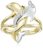 10k Two-Tone Gold Diamond Accent Intertwined Dolphin Ring, Size 8