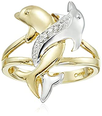 10k Two-Tone Gold Diamond Accent Intertwined Dolphin Ring, Size 9 though
