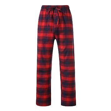 36b2f75e9a LuckyGirls Pantalón de Pajama Hombre Suelto Cuadros Rojo Pantalones Cintura  Elástica Pants de Lazo  Amazon.es  Deportes y aire libre