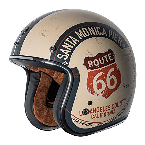TORC unisex-adult open-face-helmet-style T50 Route 66 3/4 Helmet (with 'PCH' Graphic) (Flat White,Small), 1 (Retro Open Face Helmets)