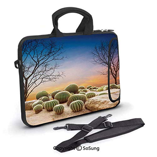 10 inch Laptop Case,Cactus Balls with Spikes on a Montain Desert Sand Mexican Landscape Photo Neoprene Laptop Shoulder Bag Sleeve Case with Handle and Carrying & External Side Pocket,for Netbook/MacBo