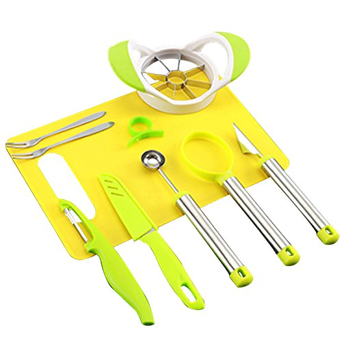 Coralpearl Fruit Edible Arrangement Garnish Shape Tool Set:Stainless Steel Apple Corer Remover,Carving Cutter Knife,Melon Baller Scoop,Dig Pulp Separator,Citrus Lemon Peeler,Chopping Board,Forks (9)