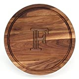 BigWood Boards W110-F Cutting Board, Monogrammed Cutting Board, Medium Round Cheese Board, Thick Walnut Wood Serving Tray, ''F''