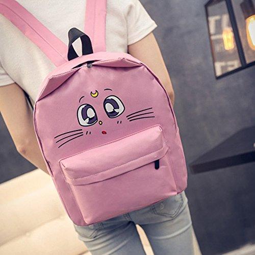 Money coming shop (Pink) Cat Backpack For Women Cute Cat Printing Backpacks for Teenage Girl Travel Back Pack Sailor Moon Canvas Backpack Mochila - Christian Pink Dior Bag