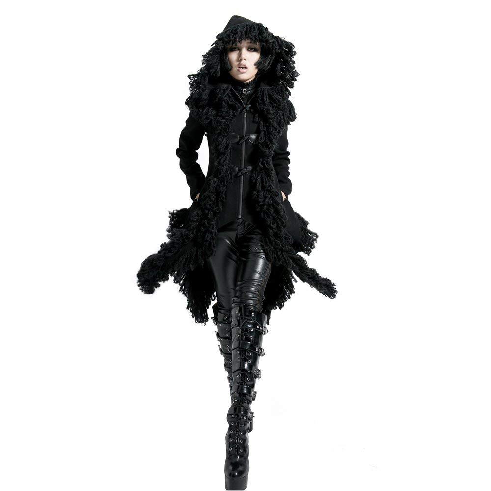 Punk Rave Worsted Hooded Jacket Tassels Fur Steampunk Women Asymmetrical Black Long Coats