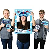 Big Dot of Happiness Taking Flight - Airplane - Vintage Plane Baby Shower or Birthday Party Selfie Photo Booth Picture Frame & Props - Printed on Sturdy Material