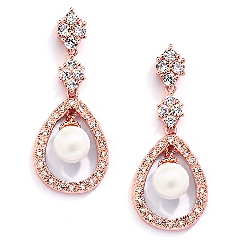 Mariell 14K Rose Gold Plated Clip On Earrings for Brides with Glass Pearl Drops & CZ Accents