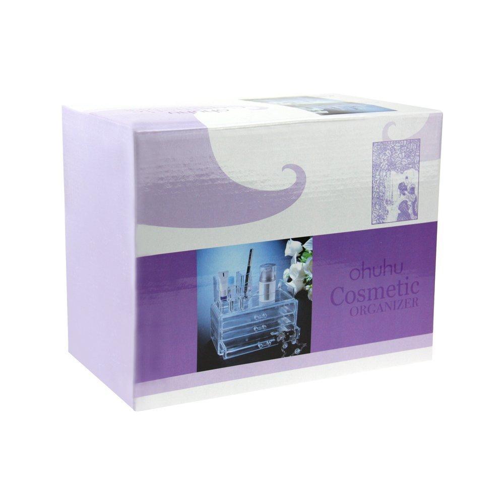 Amazon.com: Maquillaje Cosméticos Organizador de acrílico transparente 3 Cajones Caja de almacenamiento / Organizador de acrílico maquillaje, ...