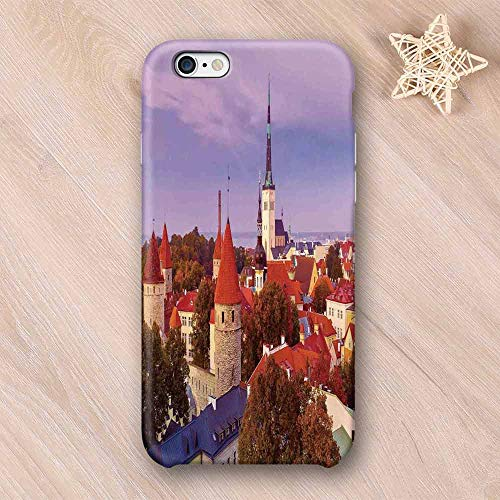 (Cityscape Elegant Compatible with iPhone Case,Aerial Citscape of Medieval Old Town in Autumn Twilight Estonia City Heritage Deco Compatible with iPhone 6/6s,iPhone 6/6s)