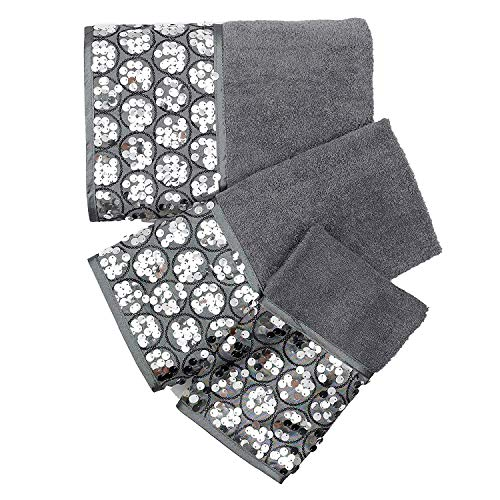 Popular Bath Bath Towels, Sinatra Collection, 3-Piece Set, Silver ()