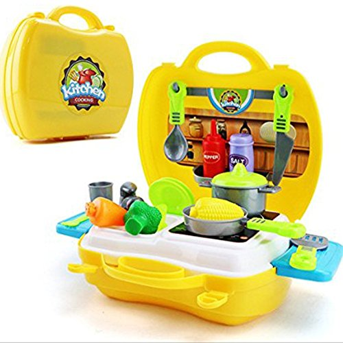 Pretend Play Food - 26PCS Kids Kitchen Cooking Role Play Toy Set with Light Sound Effect (yellow)