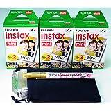 Fujifilm Instax Mini Twin Pack X 3 (60pcs) Plus carrying pouch & Photo Felt-tip