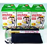 Fujifilm Instax Mini Twin Pack X 3 (60pcs) Plus carrying pouch & Photo Felt-tip