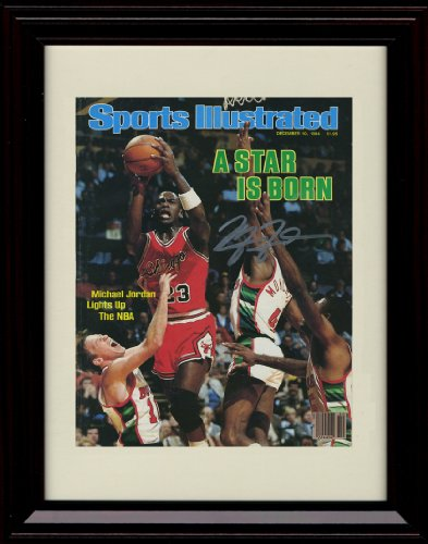 Framed Michael Jordan Sports Illustrated Autograph Replica Print - Chicago Bulls - Framed Sports Poster