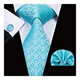 Hi-Tie Necktie Set Mens Wedding Tie with Pocket Square Cufflinks Set Silk Tie Formal Turquoise Blue Tie