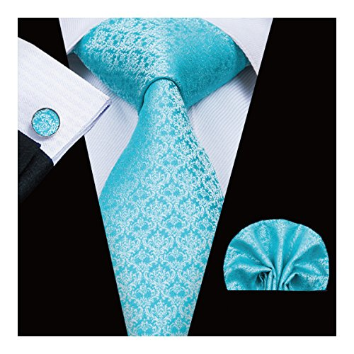 Hi-Tie Classic Blue Tie set Paisley Plaid Solid Woven Silk Necktie Pocket Square and Cufflinks Set Wedding Tie For Men (3043)