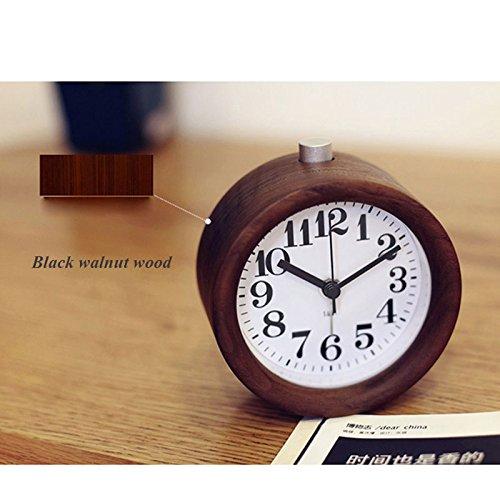 実際の木の学生の創造的な目覚まし時計のミュートの子供の時計と時計パーソナリティ光る電子寝室 (Color : Black walnut wood) B07CTCG1QP Black walnut wood Black walnut wood