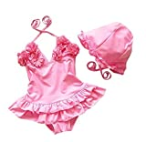 Baby Girls Flower Flounced One Piece Swimsuit With