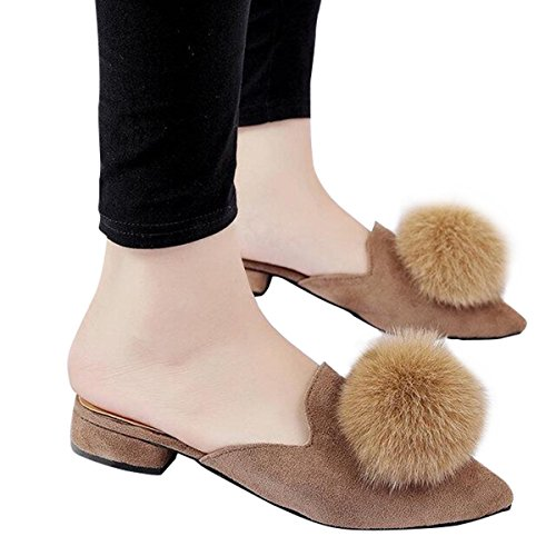 Clog Slippers Women's Toe Company Yellow Slides Pom Tree Pointed Ladies Pom Brown Loafers Backless Mules O1wqw7gUy
