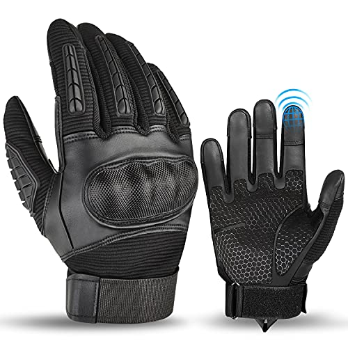 BTNEEU Motorrad Handschuhe für Herren, Vollfinger Handschuhe Sport Handschuhe mit Touchscreen Hard Knuckle Handschuhe…