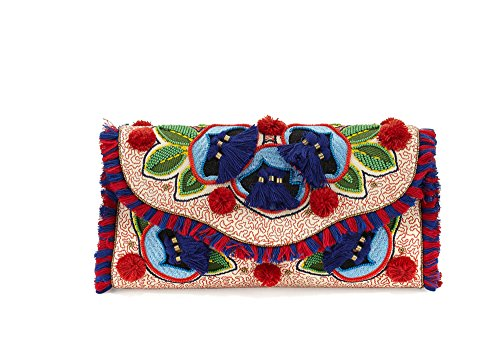 embroidered clutch Women's floral BURCH flap TORY qwWxRP5Zzz