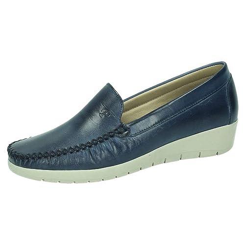 MADE IN SPAIN 1718 Mocasines Piel CUÑA Mujer Zapatos MOCASÍN Marino 36