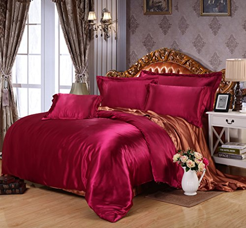 Lt Twin Full Queen Size 4-pieces Satin Silk Plain Solid Color Red Prints Fitted Sheet Sets (With Rubber Around) Duvet Cover Set /Bed Linens/bed Sheet Sets/bedclothes/bedding Sets/bed Sets/bed Covers/5-pieces Comforter Sets/bed in a Bag (Full, 5pcs with comforter)