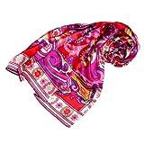 LORENZO CANA - Italian Silk Scarf 100% Pure Silk Pink Red Paisley , 43'' x 43'' - 89047