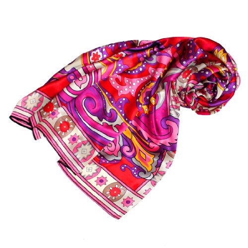LORENZO CANA - Italian Silk Scarf 100% Pure Silk Pink Red Paisley, 43