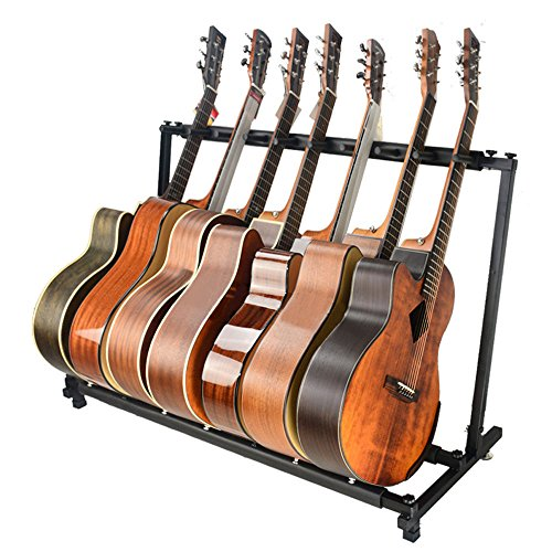 unho guitar stand 7 holder multi guitar folding stand rack band stage bass acoustic guitar buy. Black Bedroom Furniture Sets. Home Design Ideas