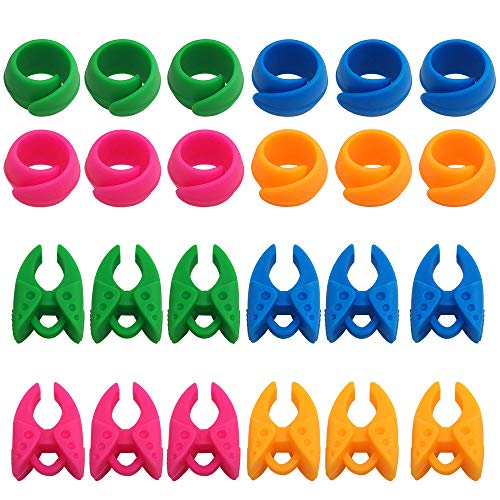 24 pcs Peels Thread Spool Huggers, FineGood Bobbin Holder Clamp Clips Keeping Bobbin Thread Tails Under Control No Loose Ends - Pink, Green, Blue, Orange
