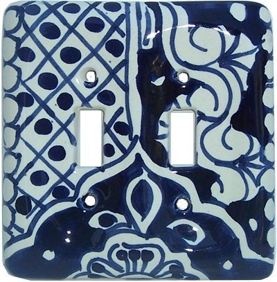 Double Toggle Traditional Talavera Ceramic Switch Plate by Fine Crafts & Imports
