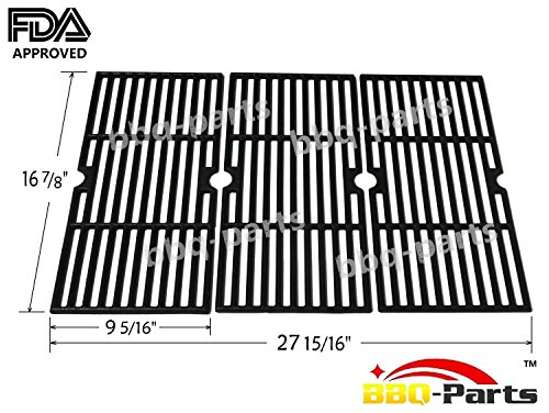 Hongso PCH763 Cast Iron Cooking Grid Replacement 68763 for Select Gas Grill Models by Charbroil, Kenmore and Others, Set of 3