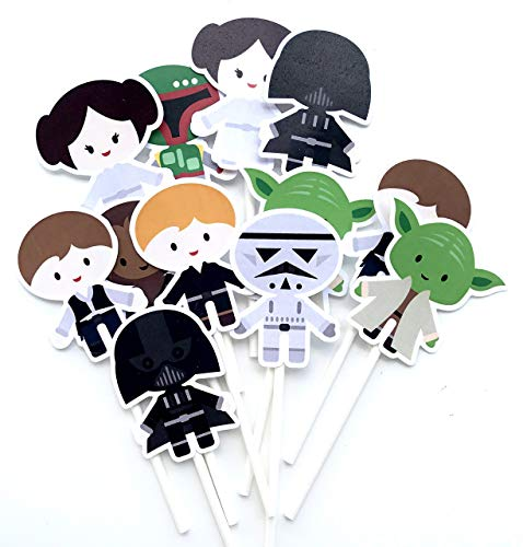 Star Wars Themed Baby Shower (Warriors Cupcake Toppers Inspired 12 pcs, Star Party Supplies, Galaxy Warriors, Cake Picks, Baby Shower, Birthday Party Decorations, Supplies Baby Themed,)