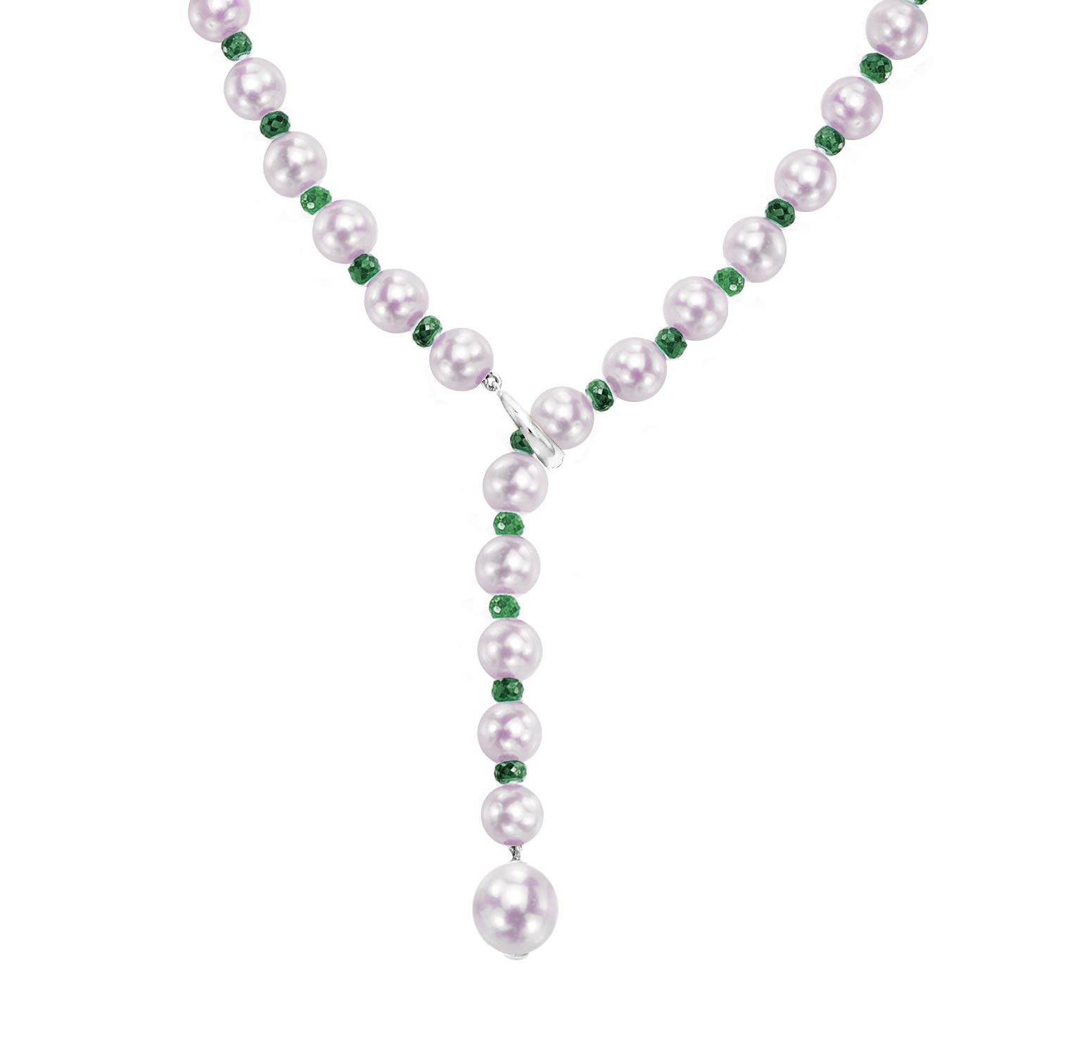 Green Emerald Gemstones and Freshwater Cultured Pearl Adjustable Necklace Sterling Silver Wedding Jewelry