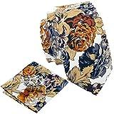 flower tie set cotton handkerchief cufflinks neckties for men wedding business