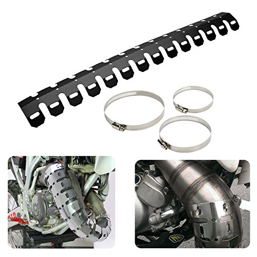 Exhaust Muffler Pipe Heat Shield Cover Heel Guard Dirt Bike Cruiser Chopper Cafe Racer Old School Bobber Touring (black) (Exhaust Guard Cover)