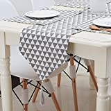 Hihome Table Runners and Placemats Set of 4 Cotton Linen Fabric Table Top Decoration for Kitchen Dining Table (Grey1)