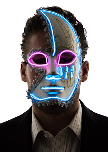 Neon Nightlife Men's Light Up Half Face Venetian Sparkle Mask, Blue & (Scary Masquerade Masks)