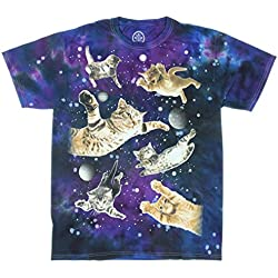 Ninja Kitty Cats Flying in Space T-Shirt (Large)