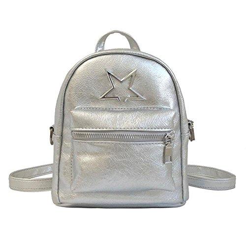 Star Shoulder Domybest Girl Mini Travel Backpacks Cute Silver Handbags Casual Women Leather 6qAaqU1x