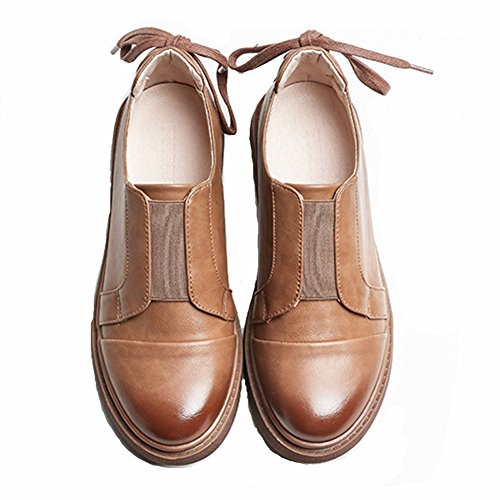 T-JULY Womens Fashion Oxfords Shoes - Comfy Slip-On Low Wedge Round Toe Casual Shoes Brown