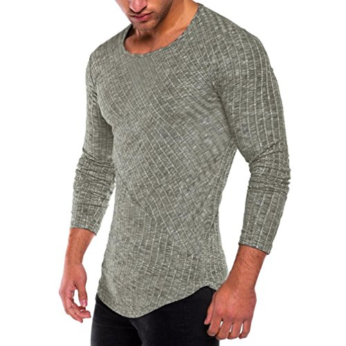iLXHD Men's Slim Fit O Neck Long Sleeve Muscle Tee T-Shirt Casual Tops Blouse(Green,S) -