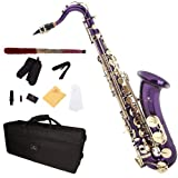 Cecilio TS-280PL 2Series Tenor Bb Saxophone with Mouthpiece, Case, 10 Reeds, and Accessories - Purple Lacquer