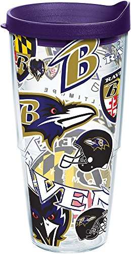 (Tervis 1248081 NFL Baltimore Ravens All Over Tumbler with Wrap and Royal Purple Lid 24oz, Clear)