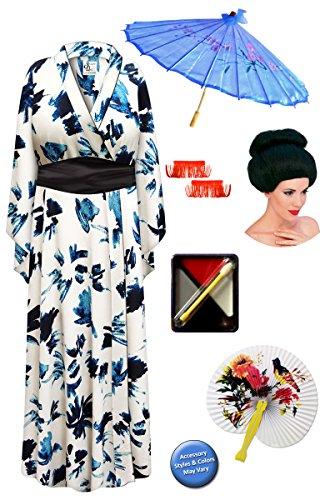 [Navy & Cream Geisha Robe Plus Size Costume - Deluxe Black Bun Wig Kit 3x/4x] (Geisha Halloween Costume Makeup)