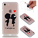 Cover Case for iPhone 6 Plus / iPhone 6S Plus, CrazyLemon Transparent Soft TPU Clear Silicone Gel Varnish Technology Embossed 3D Creative Pattern Design Durable Material Shock Proof Soft Scratch Resistant Rubber Skin Shell Protective Case Cover for iPhone 6 Plus 6S Plus 5.5 inch - Childhood Sweetheart