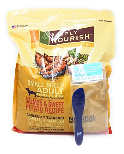Simply Nourish Small Breed Sweet Potato and Salmon Dry Dog Food, Natural Ingredients - 11lbs and Especiales Cosas Mixing Spatula