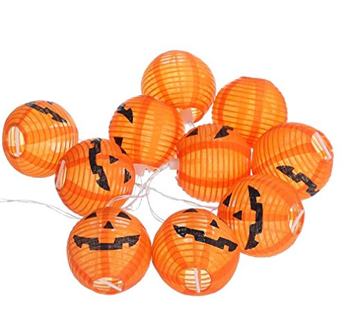 Pumpkin String Lights Battery Powered Jack-O-Lantern Pumpkin Decorative Lights, 10 LED Halloween Decoration Lights for Indoor, Outdoor, Festival, Christmas Parties Home Decor - Jack Outdoor O-lantern Light