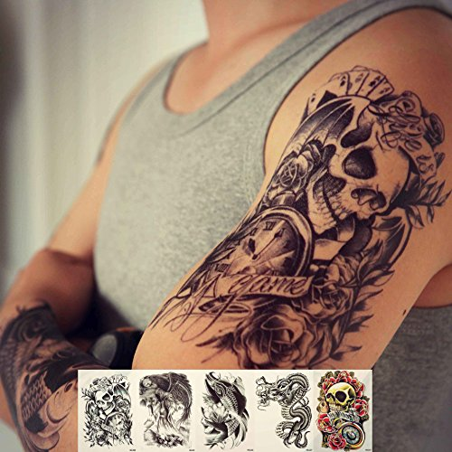 Zzurcca Large Realistic Temporary Tattoos Cover Set 5 Pcs Stickers For Men Black Fake Tattoo Kit For Women (Dragon, Skull, Koi Fish, Death Sickle) ()